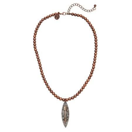 West and Co Women's Bead Arrow Charm Necklace - Burnished Copper