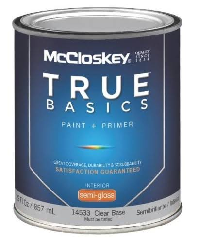 McCloskey True Basics Latex Paint & Primer Semi-Gloss Interior Wall Paint - 29oz