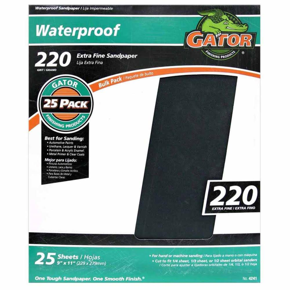 Ali Industries Gatorgrit Waterproof Sandpaper - 25 Sheet Pack, 220 Grit