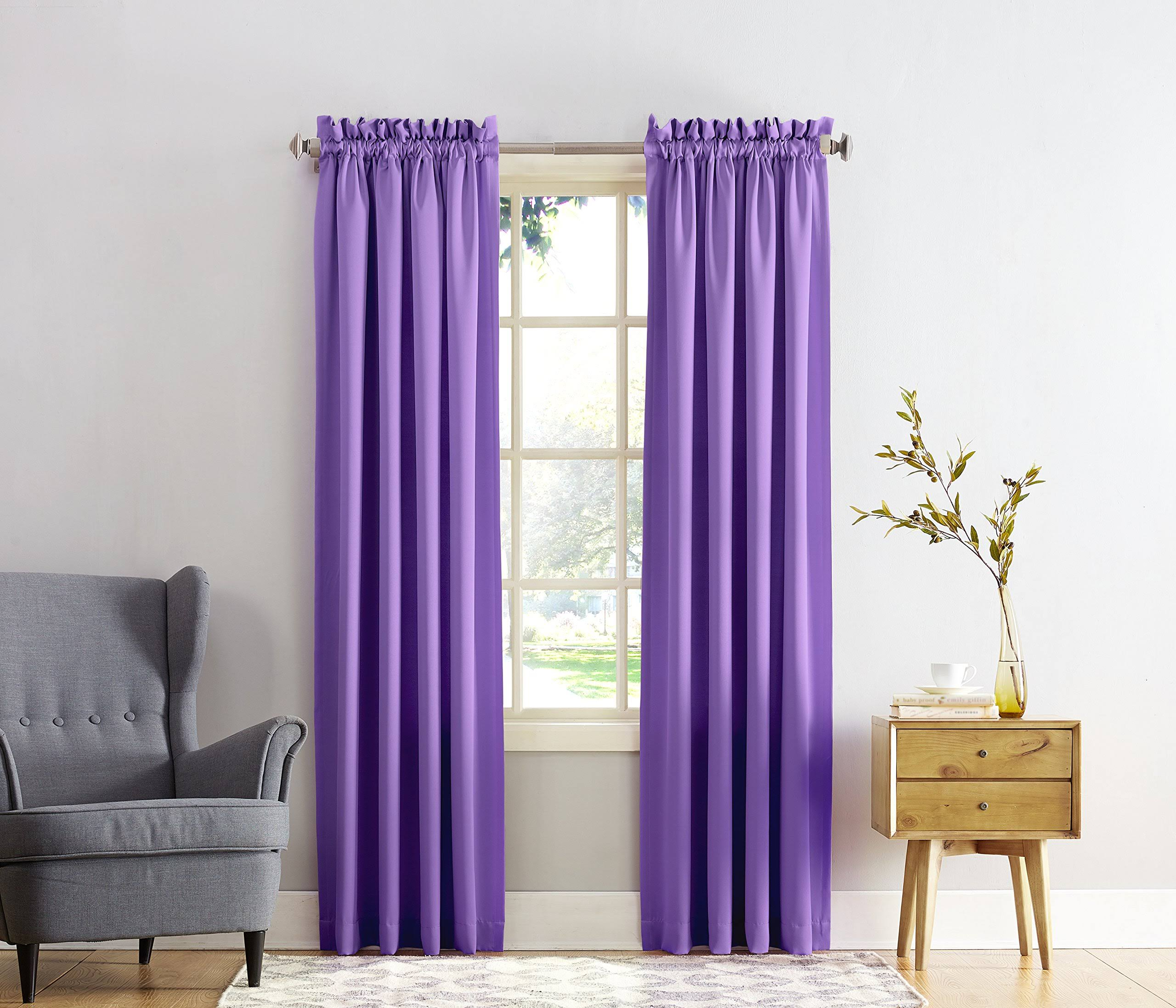 Sun Zero Kylee Room-Darkening Energy-Efficient Curtain Panel, Purple