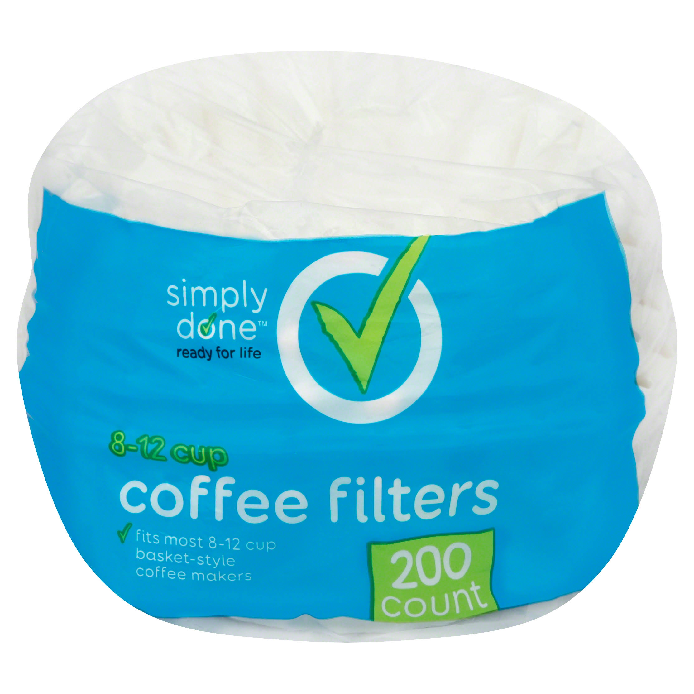 Simply Done Coffee Filters, 8-12 Cup - 200 filters