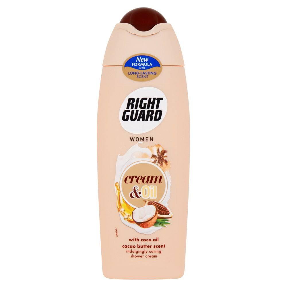 Right Guard Women's Cream and Oil Shower Cream - with Coco Oil Cacao Butter Scent, 250ml