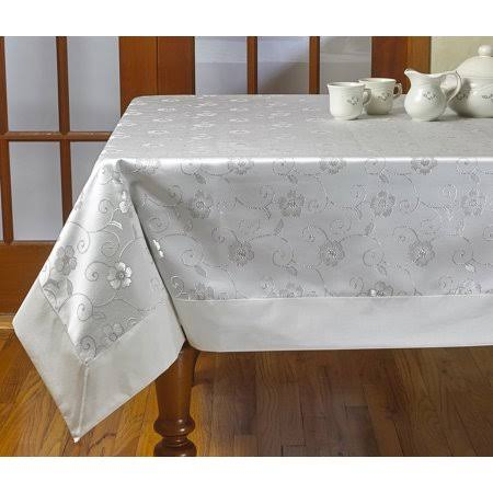 Violet Linen Elegant Embroidered Flower Design Tablecloths, Size: 70 inch x 105 inch, White