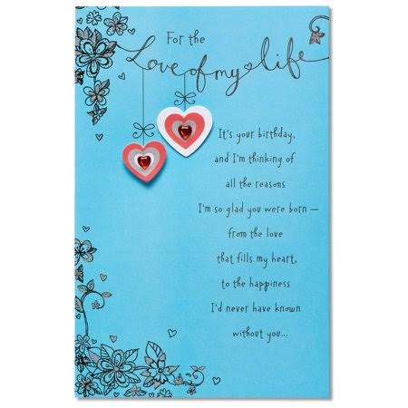 American Greetings Love of My Life Birthday Card with Glitter, Blue