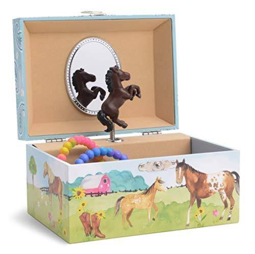 Jewelkeeper Girl's Musical Jewellery Storage Box with Spinning Horse, Barn Design, Home on The Range Tune