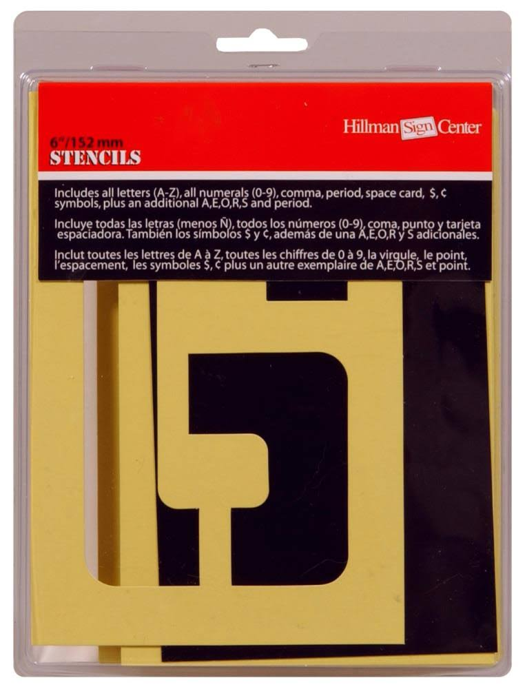 The Hillman Group 6-Inch Numbers, Letters, and Punctuation Combo Stencil Set