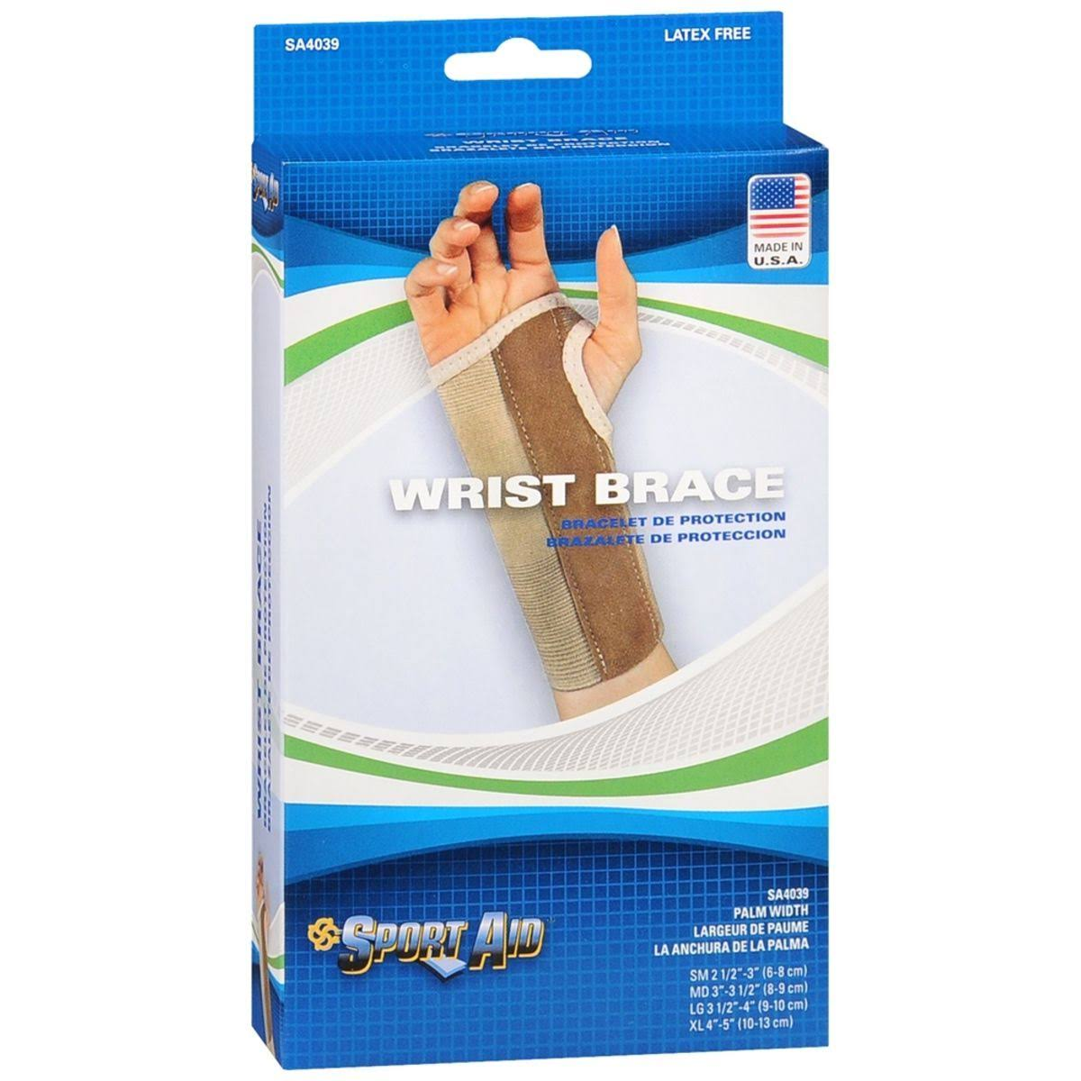 Sportaid Palm Stay Wrist Brace - Beige, Left, Large