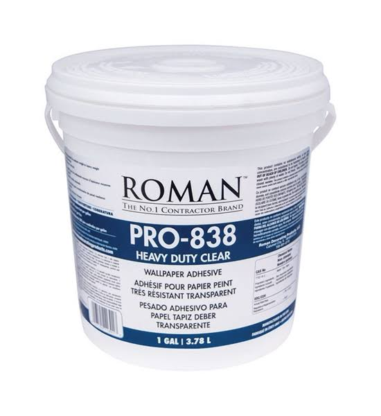 Roman PRO-838 Heavy Duty Wallpaper Adhesive, Clear, 1 Gal