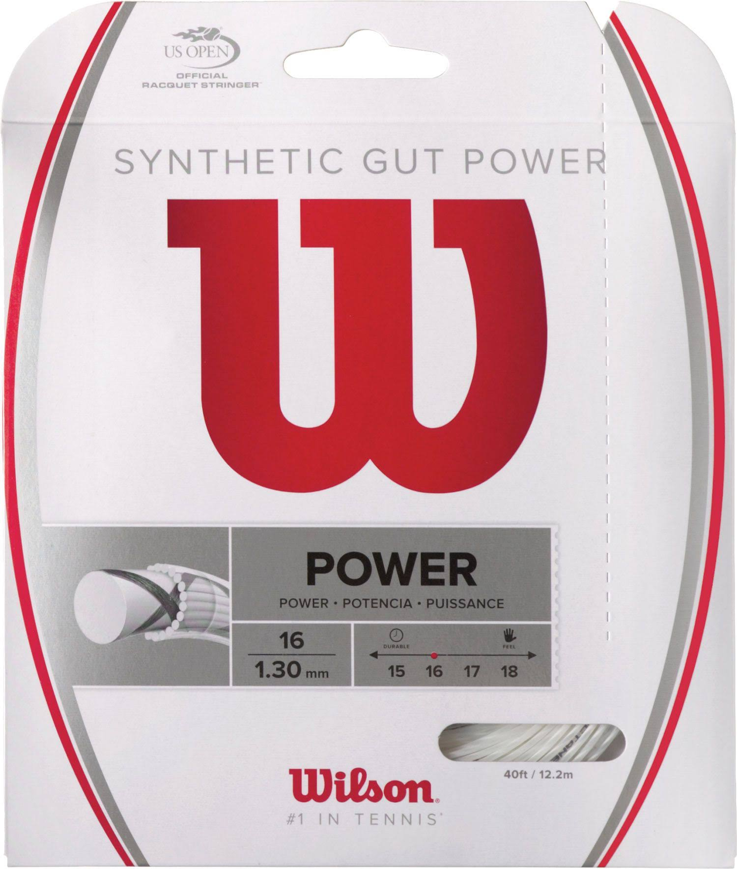 Wilson Synthetic Gut Power Tennis String - White, 16 Gauge, 40'