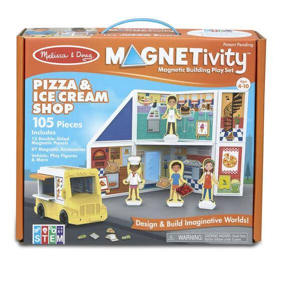 Melissa & Doug Magnetivity - Pizza & Ice Cream Shop Magnetic Building Play Set