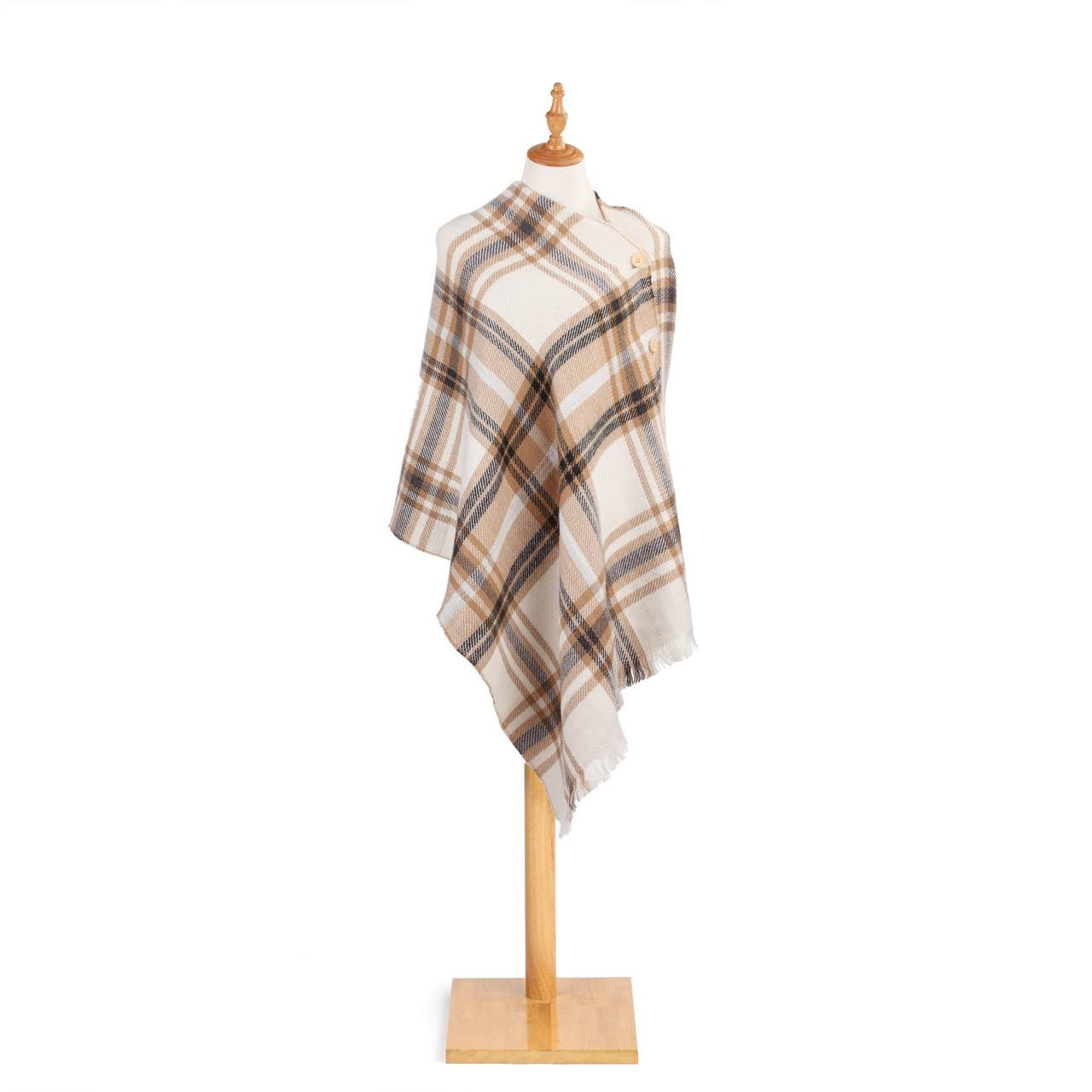 Demdaco Reversible Button Acrylic Fabric Shawl Poncho - Tan and White Plaid, One Size