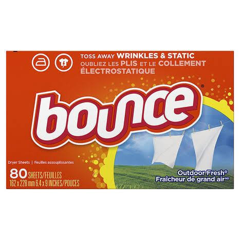 Bounce Fabric Softener Dryer Sheets - Outdoor Fresh, 80 Sheets