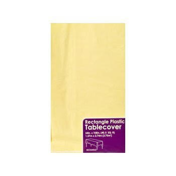 DTSC Plastic Rectangle Party Tablecover - Yellow, 54 x 108 in