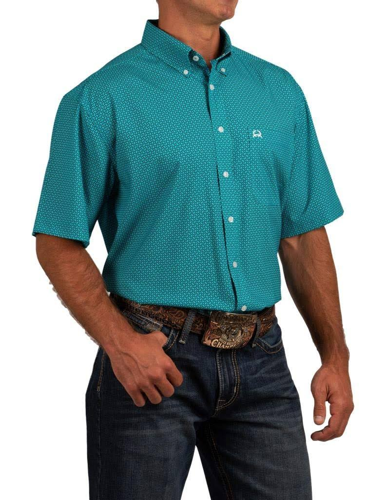 Cinch Western Shirt Mens S/S ArenaFlex Button MTW1704048 Turquoise