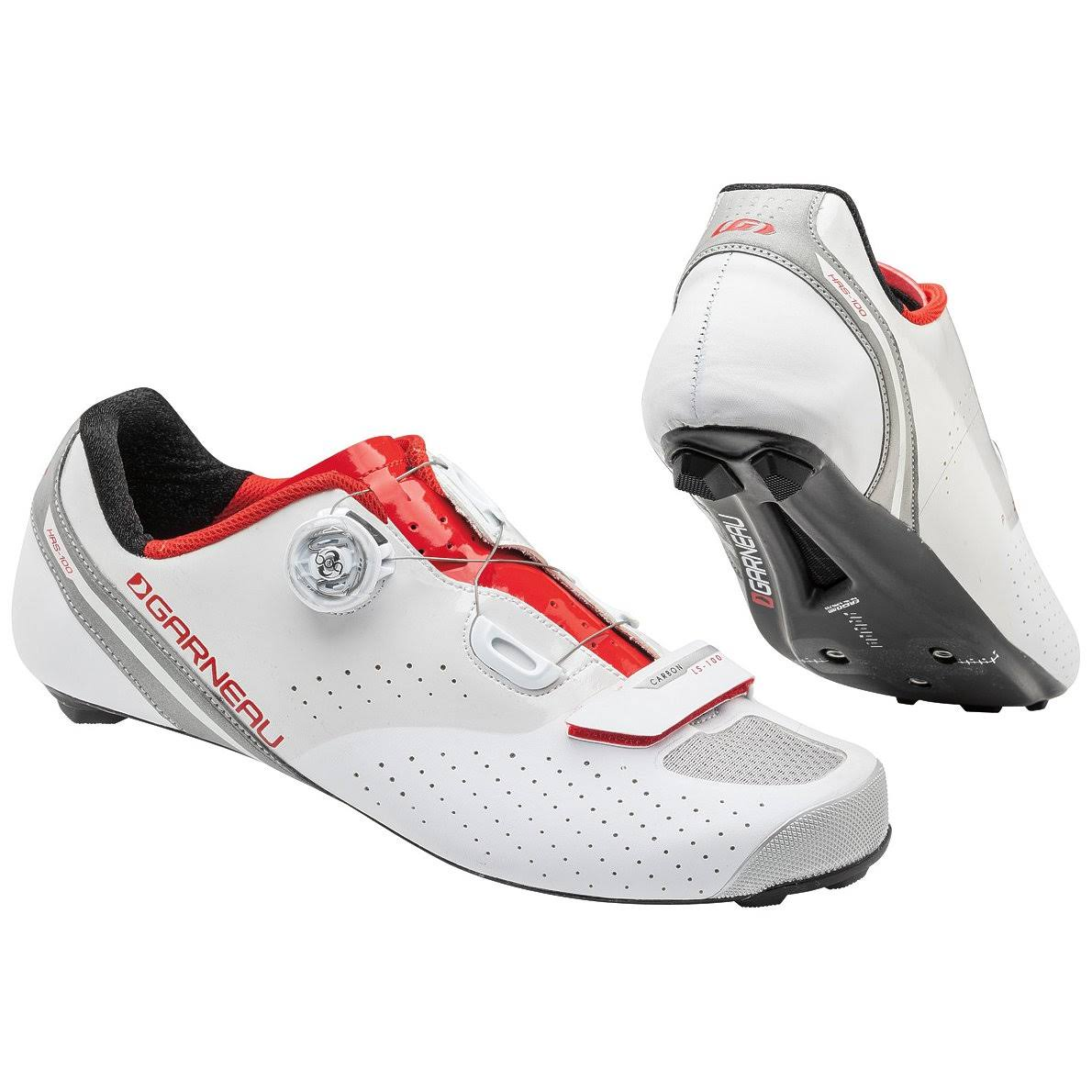 Louis Garneau Men's Carbon LS 100 II Cycling Shoes - White/Ginger, 43.5 EU