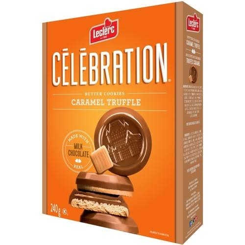 Leclerc Celebration Caramel Truffle Butter Cookies Made with Real Milk Chocolate 240g