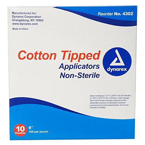 "Dynarex Cotton Tipped Swabs - 6"", 1000 Count"