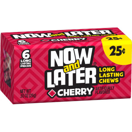 Now & Later Candy - 6 Pieces, Cherry