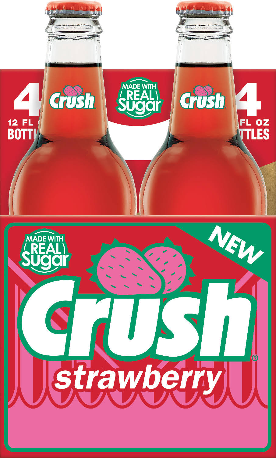 Crush Strawberry Soda - 4 pack, 12 fl oz bottles