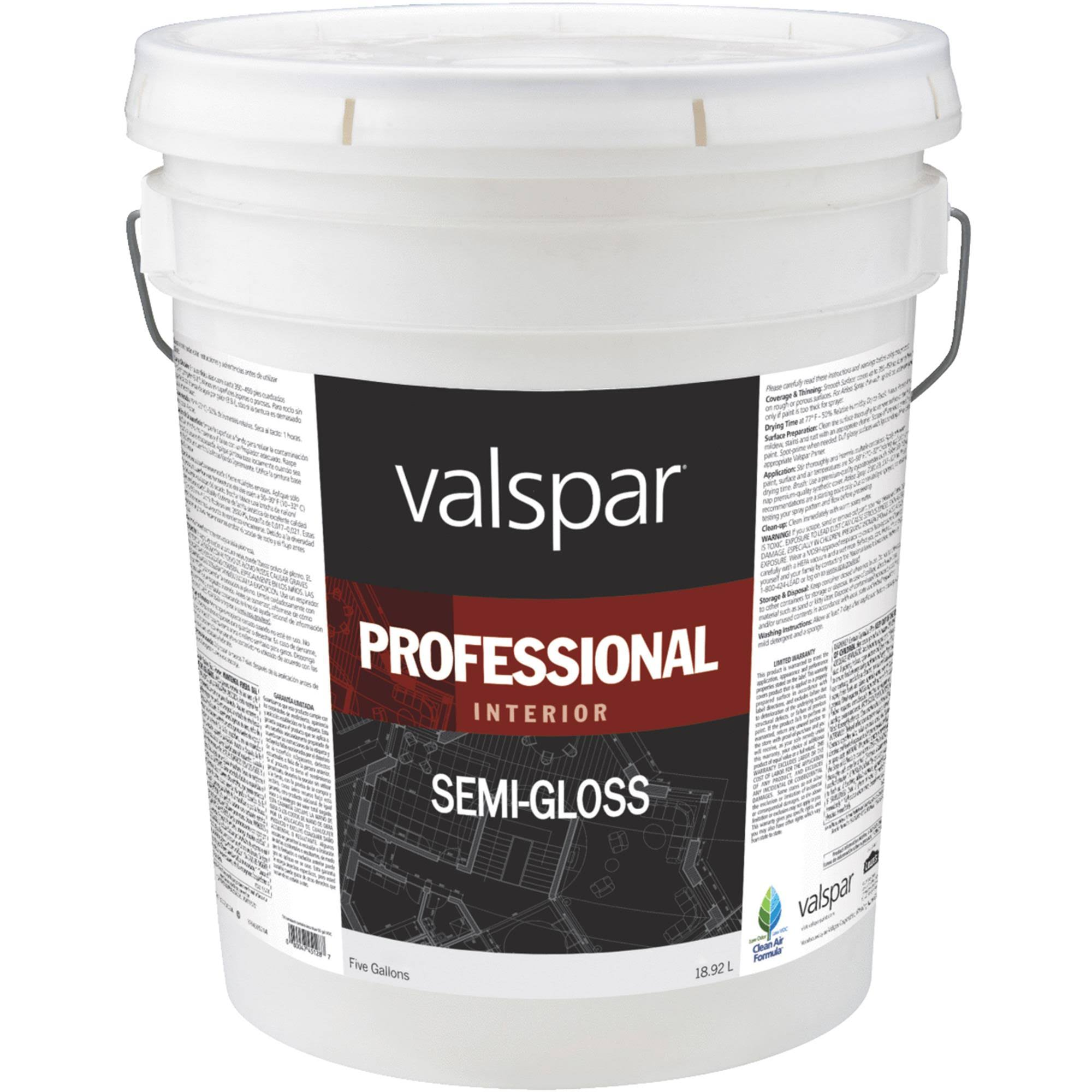 Valspar Interior High Hide Latex Paint - White, Semi Gloss, 5gal