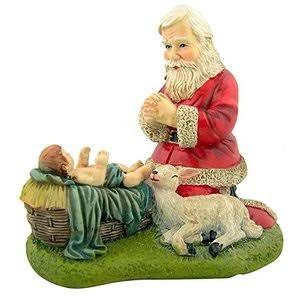 Kneeling Santa with Lamb Nativity of Christ Figurine Christmas Statue