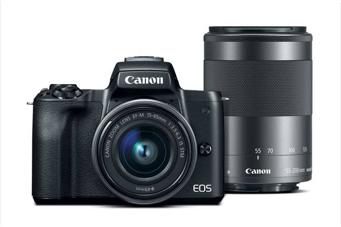 Canon Eos M50 Digital Camera Kit - Black, 15-45mm and 55-200mm Lens