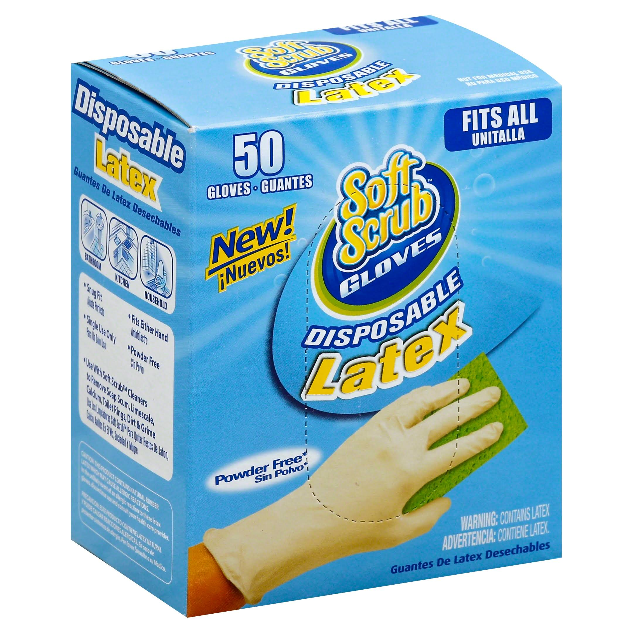Soft Scrub Disposable Latex Gloves - 50 Count